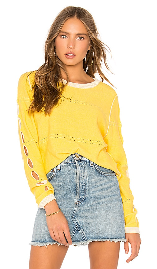 Michael Stars Reversible Pullover With Slv Slashes in Yellow