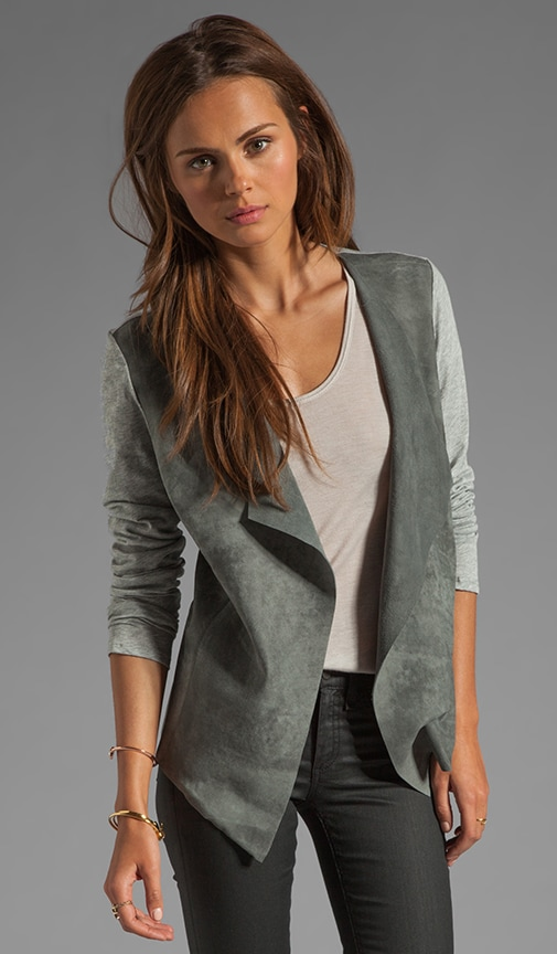Leather Long Sleeve Drape Front Cardigan