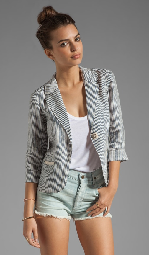 Stripe 3/4 Sleeve Blazer
