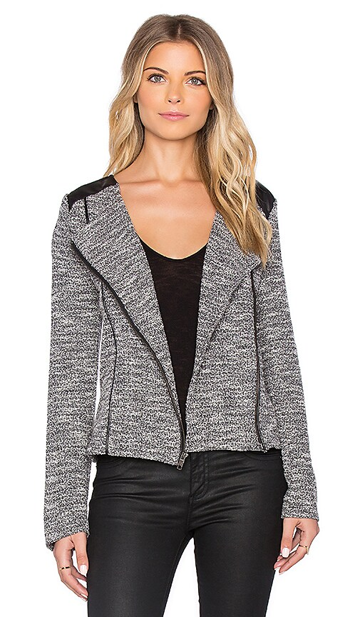Michael Stars Long Sleeve Moto Jacket in Tweed