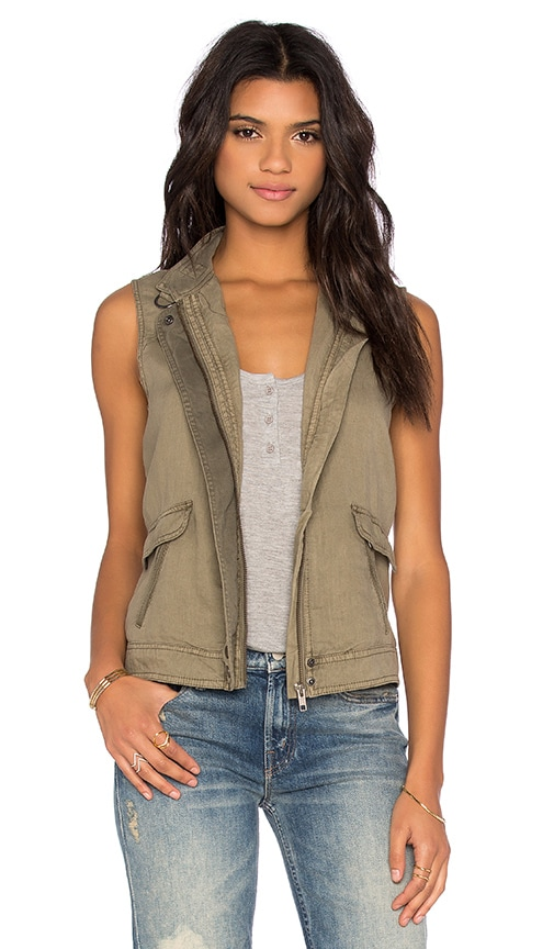 Michael Stars Zip Up Vest in Olive