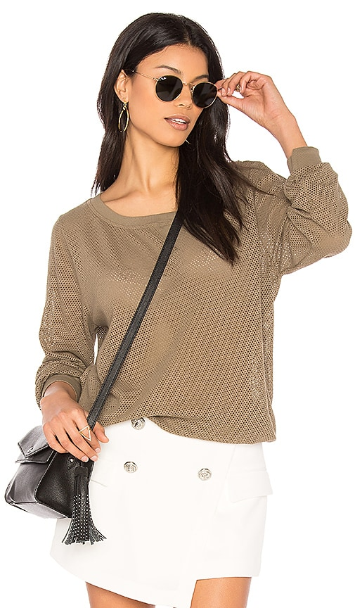 Michael Stars Mesh Sweatshirt in Olive