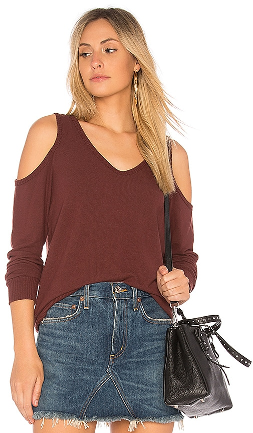 Michael Stars Cold Shoulder Sweatshirt in Red
