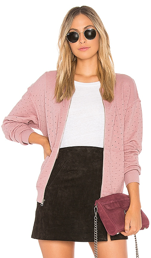 Michael Stars Perforated Terry Bomber Jacket in Rose