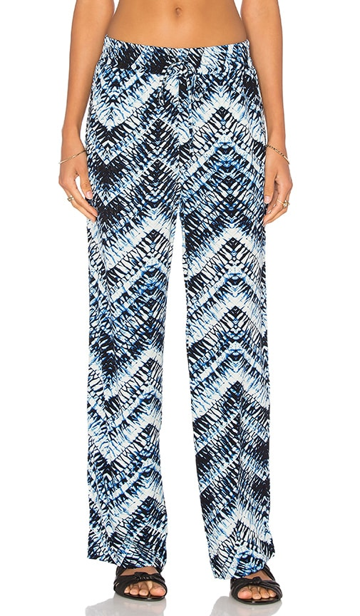 Michael Stars Azure Crepe Print Smocked Wide Leg Pant in Blue
