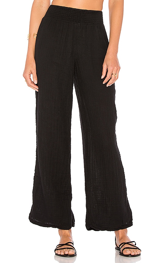 Michael Stars Smocked Wide Leg Pant in Black