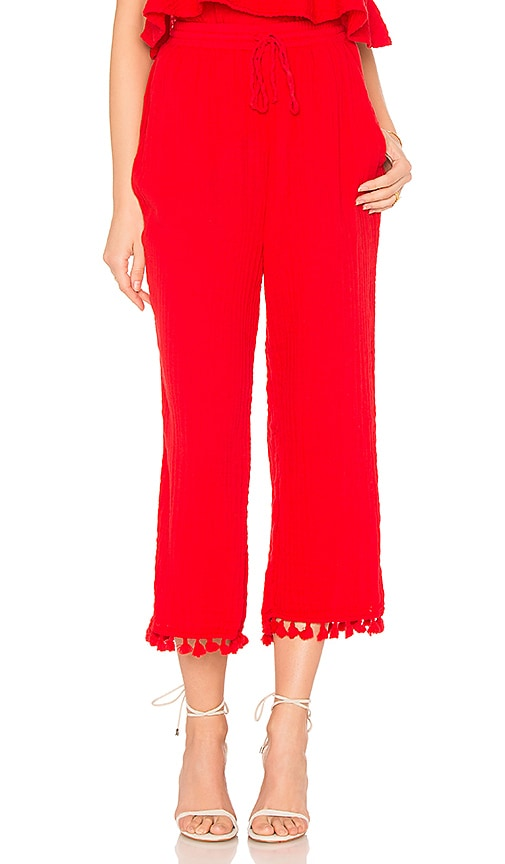Michael Stars Double Gauze Tassel Pant in Red