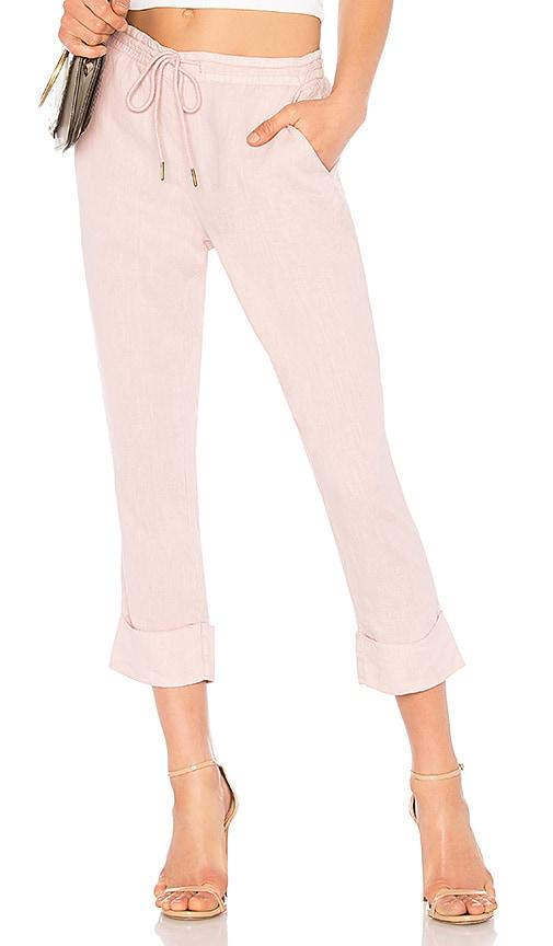 Michael Stars Linen Cuffed Trouser in Pink