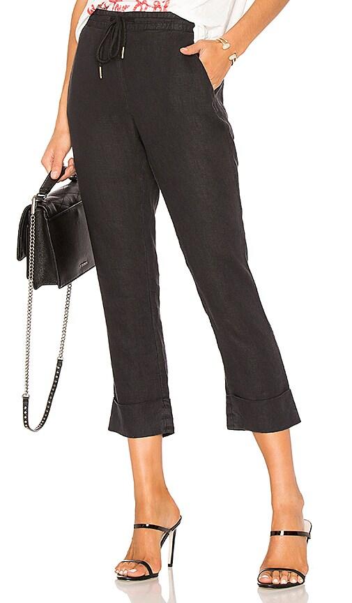 Michael Stars Linen Cuffed Trouser in Black
