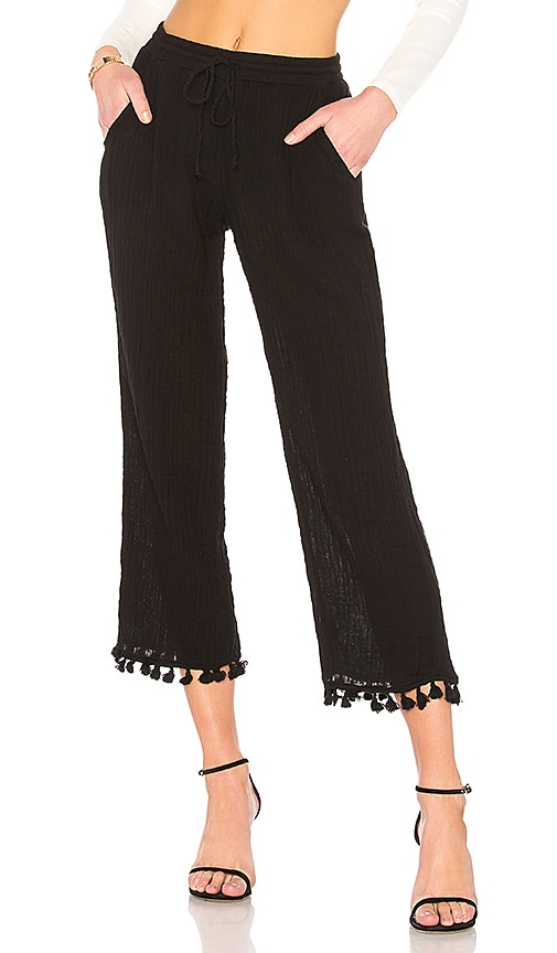Michael Stars Double Gauze Tassel Pant in Black