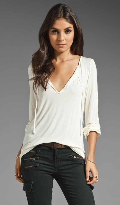 Essentials Long Sleeve Shirred Blouse