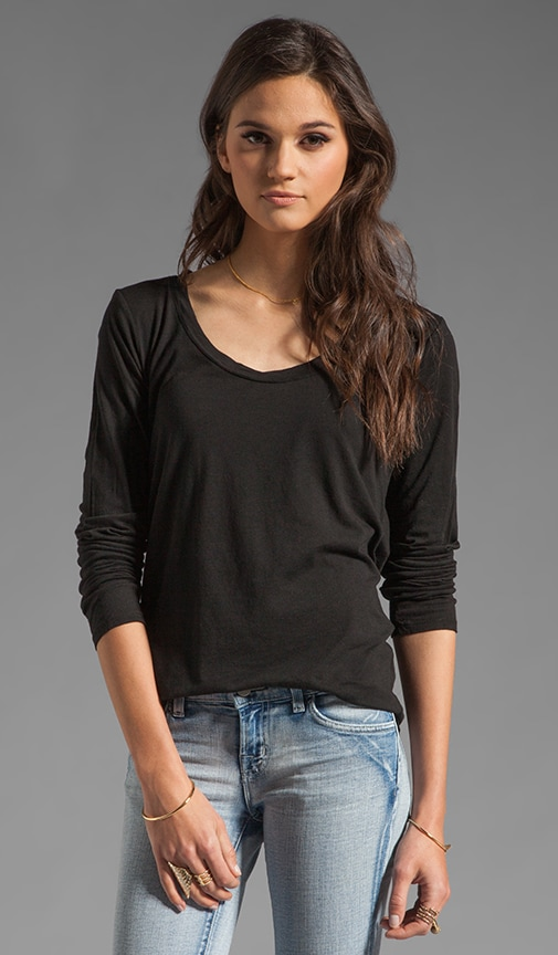 Long Sleeve Scoop Neck Hi-Low