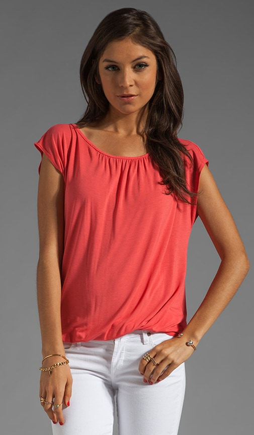 Short Sleeve Boatneck With Keyhole Back Top