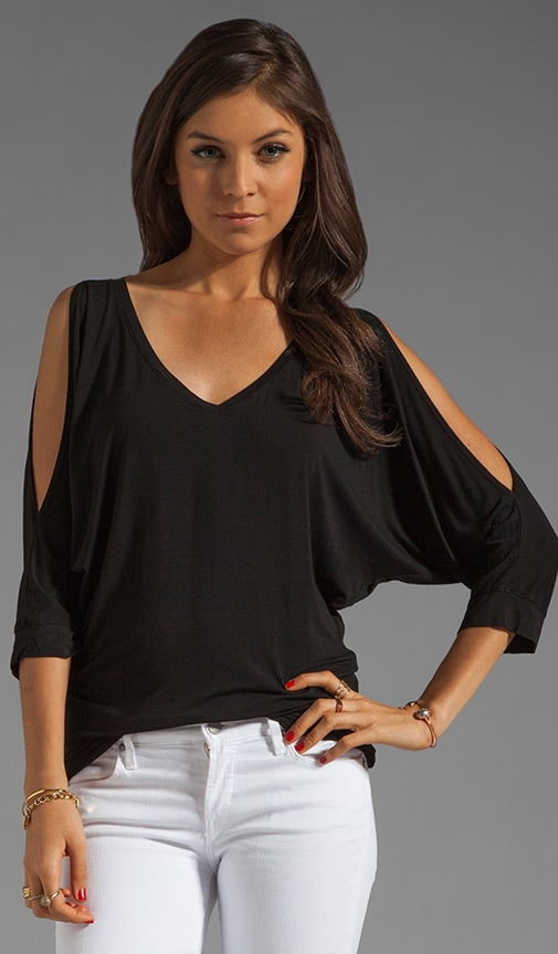 3/4 Sleeve Cold Shoulder V Neck Top
