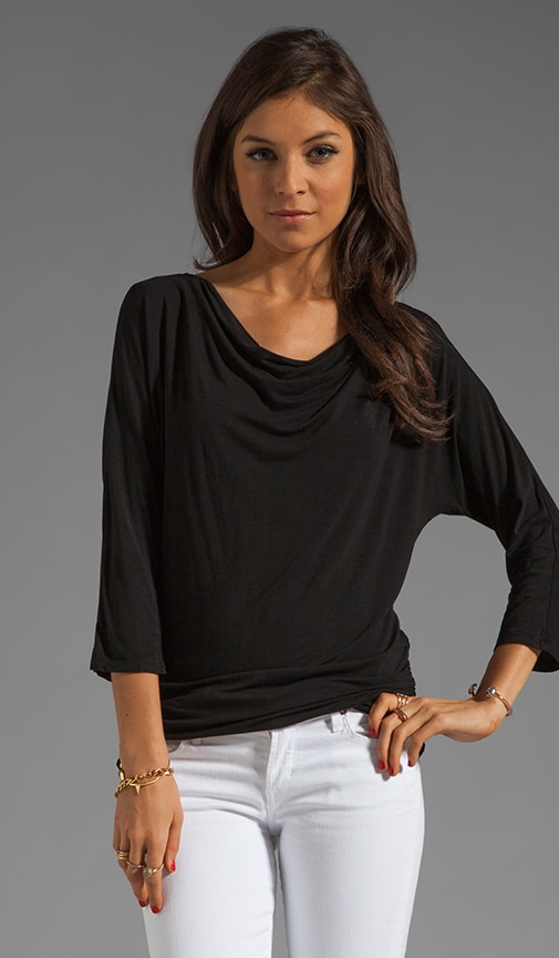 3/4 Sleeve Boatneck With Shirred Side Top