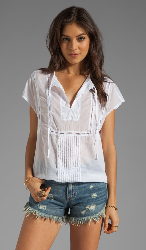 Wovens Tulum Short Sleeve Blouson Hem Peasant Top
