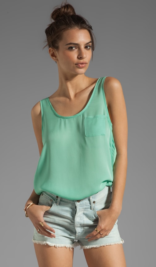 Wovens Positano Sleeveless Scoop Neck Pocket Tank