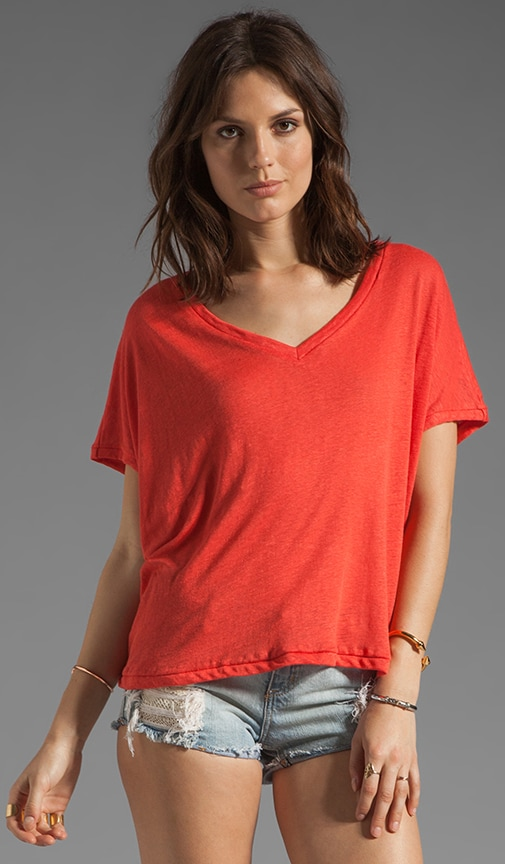 Collection Tees Short Sleeve V Neck Flowy Crop Tee