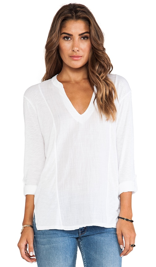 Long Sleeve Split Neck with Voile Mix
