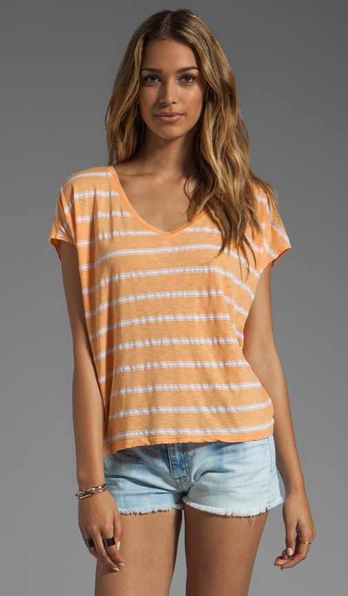 Short Sleeve Striped Scoop Neck Tee