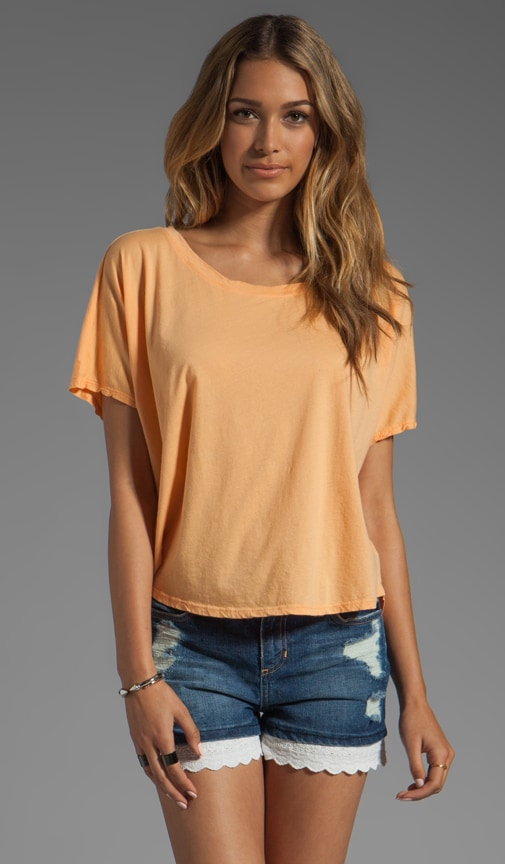Short Sleeve Wide Neck Hi-Low Crop Top