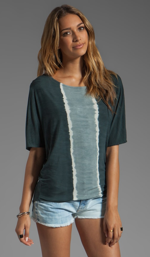Vertical Stripes Elbow Sleeve Dolman Wide Neck Tee