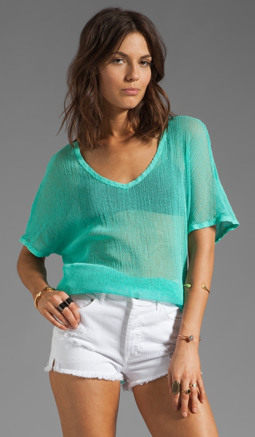 Box Mesh Short Sleeve V Neck Dolman Top