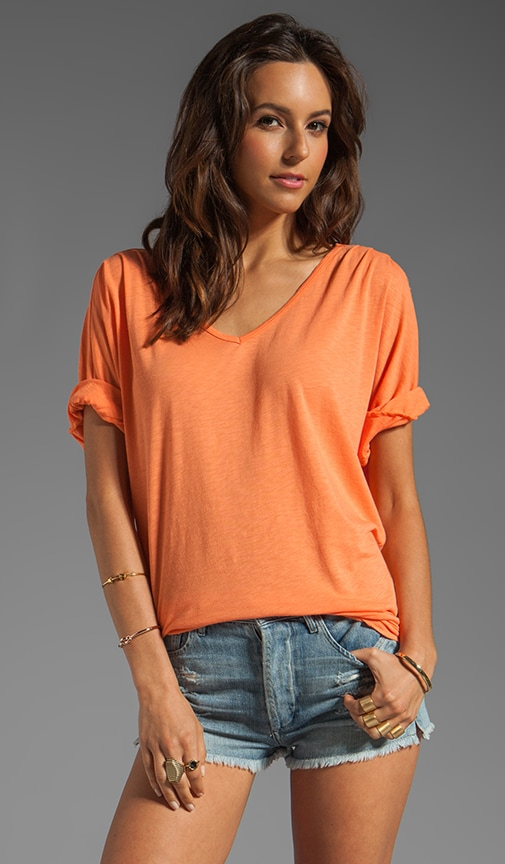 Elbow Sleeve Relaxed V Neck Top