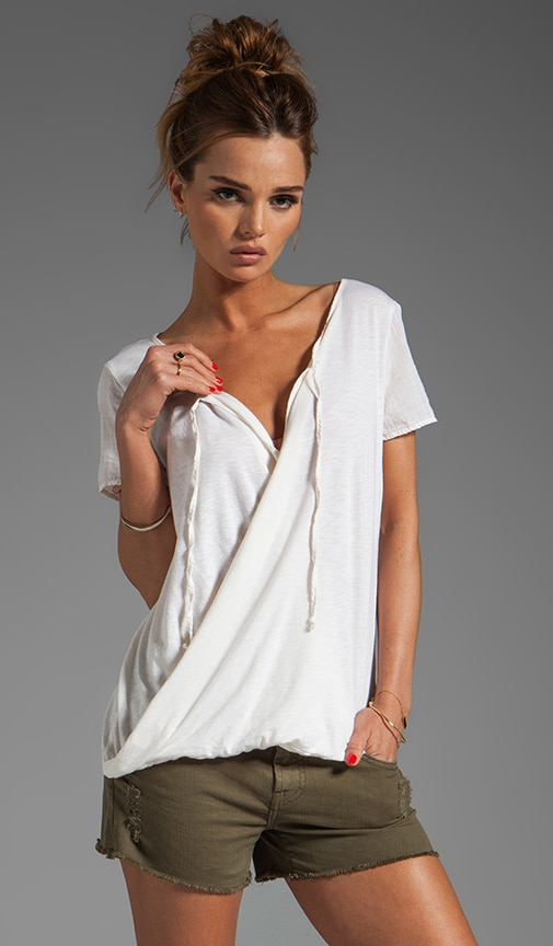 Luxe Slub Short Sleeve Drape Surplice Top