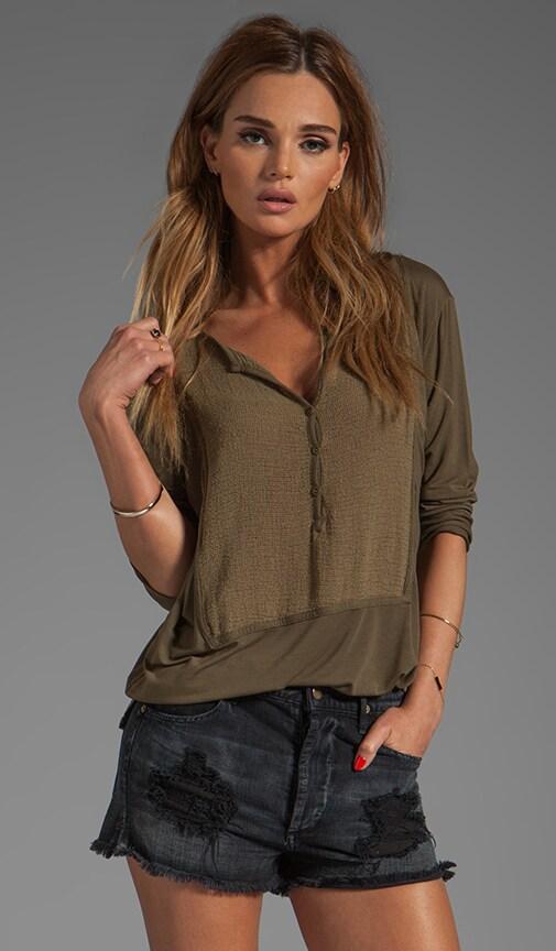 Jersey Lycra 3/4 Sleeve Shirttail Henley