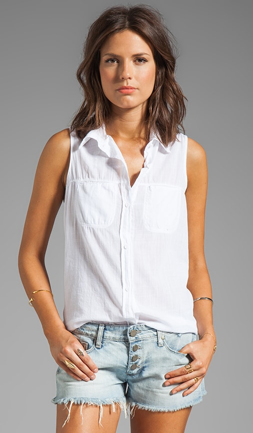 Luxe Slub Sleeveless Collared Button Down