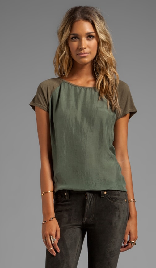 Sandwashed Silk Short Sleeve Raglan Hi-Low Top