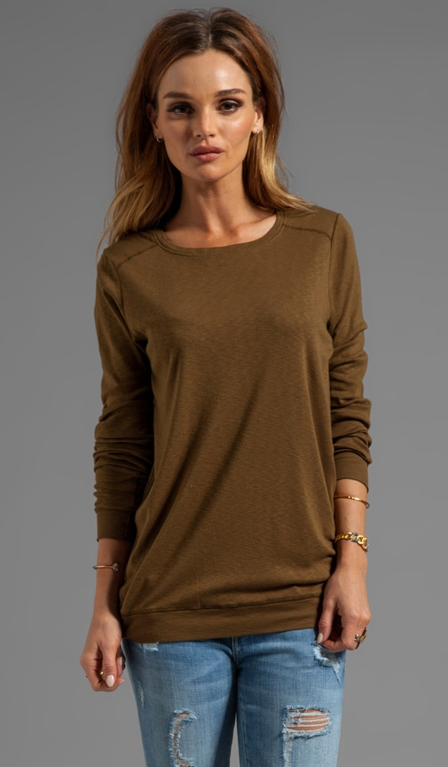 Long Sleeve Slim Crew Neck with Elbow Patches