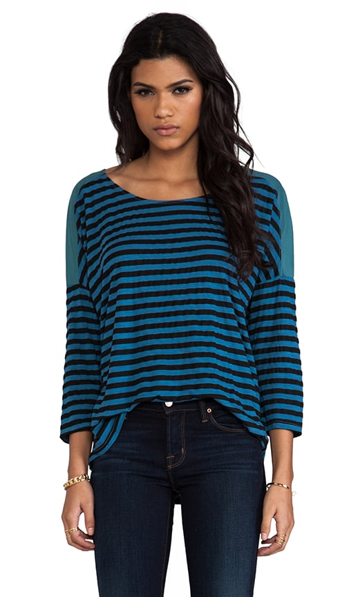 Soho Stripe 3/4 Sleeve Scoop Neck