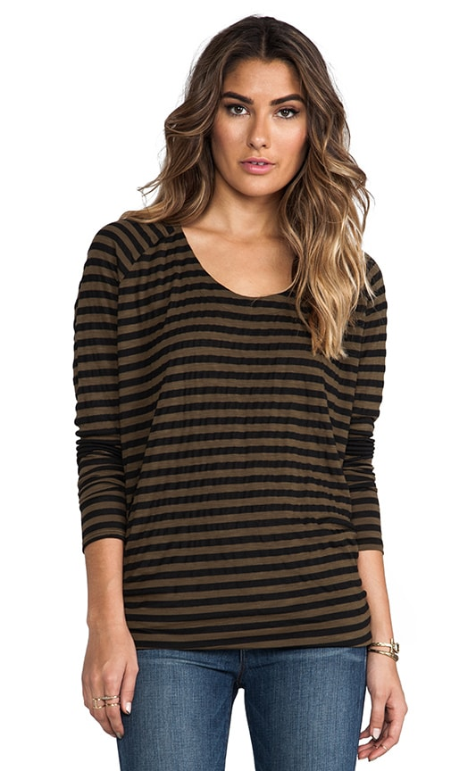 Soho Stripe Long Sleeve Drape Back Top