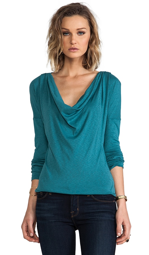 Long Sleeve Drape Neck Top