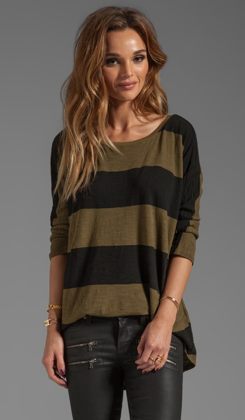 3/4 Sleeve Wide Neck Hi-Low Tee