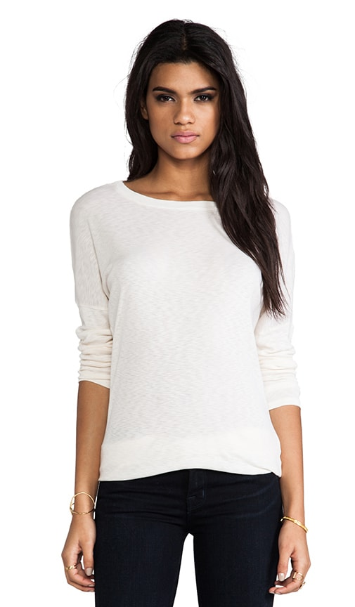 Long Sleeve Slim Boatneck with Banded Hem