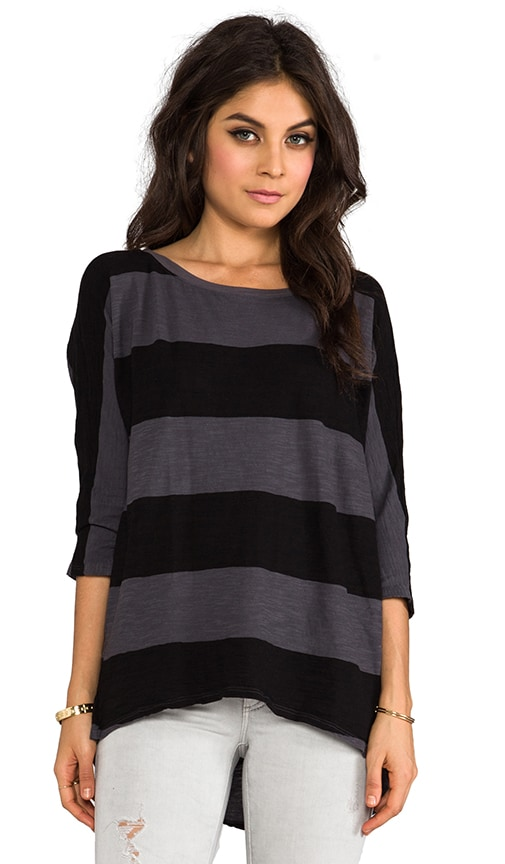 Stripe Wide Neck Hi-Low Tee