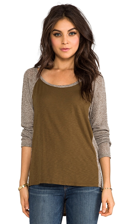Long Sleeve Scoop Neck Raglan Hi-Low