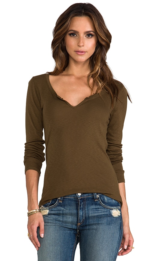Long Sleeve Notched Scoop Neck