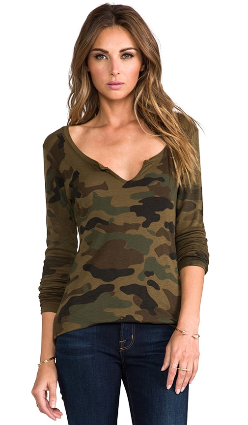 Camo Notched Long Sleeve Scoop Neck