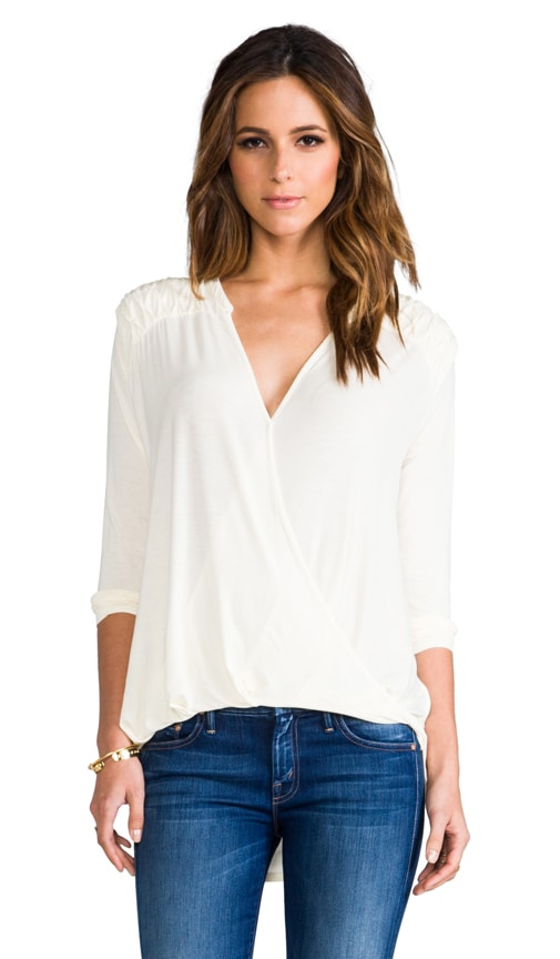 Roll Sleeve Surplice Top