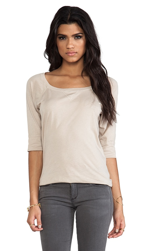 Elbow Sleeve Wide Neck Raglan Tee