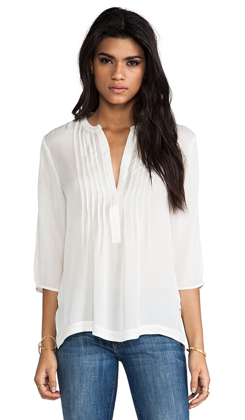Belle 3/4 Sleeve Pintucked Split Neck Blouse