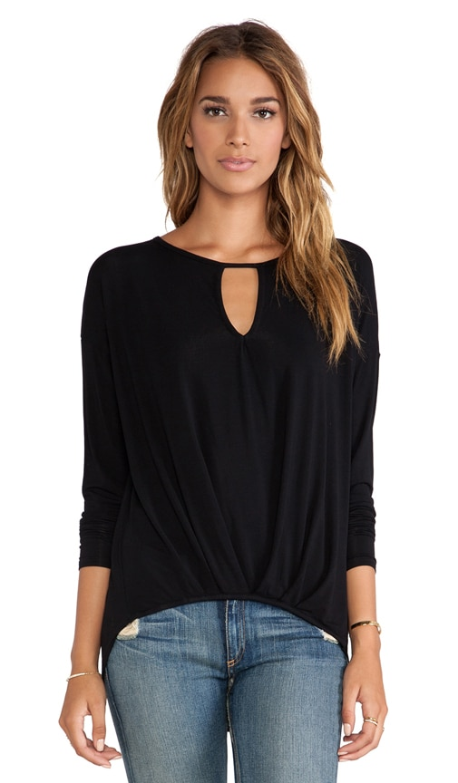 Long Sleeve Keyhole with Pleated Hem