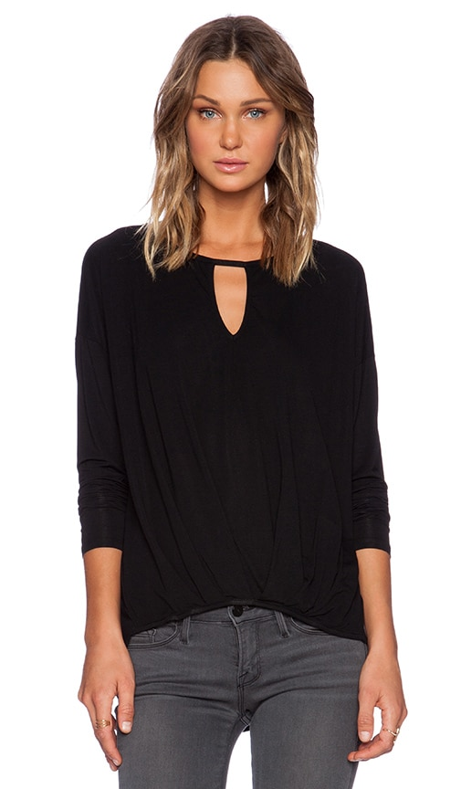 Michael Stars Long Sleeve Keyhole Pleated Top in Black
