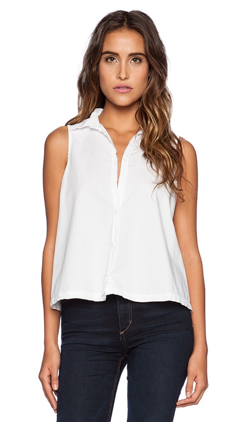 Sleeveless Button Up Crop Shirt
