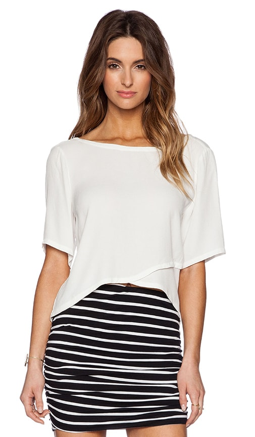 Michael Stars 3/4 Sleeve Crossover Top in Eggshell