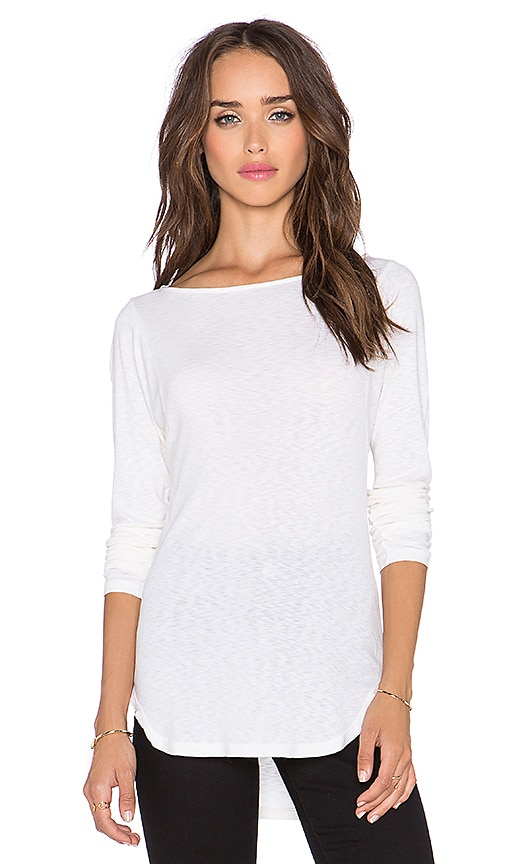 Michael Stars Wide Neck High Low Top in Porcelain